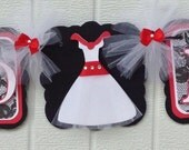 Miss to mrs. Banner, bachelorette banner, bride to be banner, wedding dress banner, red, white and black