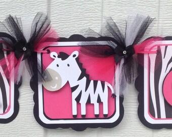 Zebra baby shower banner, zebra print banner, it's a girl banner, hot pink decor, girl zebra banner, baby girl banner, baby shower banner