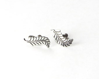 Sterling Silver Earrings Silver Leaf Earrings Signed J B C 925
