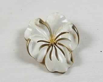 Vintage White Enamel Flower Brooch