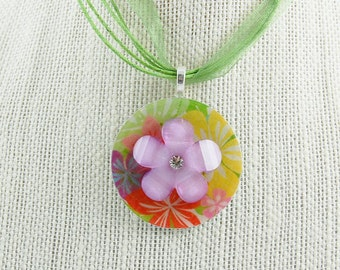 Handmade Upcycled Washer Necklace - Tropical with Lavender Flower and Faux Diamond