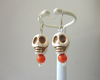 Day Of The Dead Earrings Sugar Skull Dangle White Orange