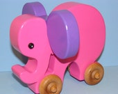 Wooden Toy Elephant on the Go - Pink Lady/Purple ears