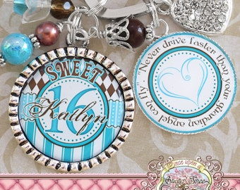 SWEET 16 Gift, Personalized Name KEY CHAIN (or necklace), Quote, New Driver, Number 16 Charm, Sweet 16, Birthday Gift, Get Well, Heart Charm