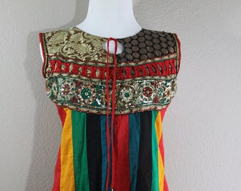 ethnic colorful stripe dress with sparkle- hippie Boho