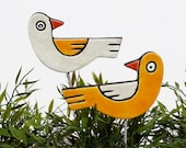 birds garden art - plant stakes - garden markers - garden decor - bird ornament - ceramic birds - love birds - yellow & white