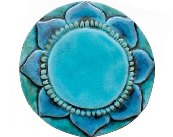 Mantra ceramic art // Wall tile // Decorative tile made from Ceramic // Hand painted tile // Mantra 19cm // Turquoise
