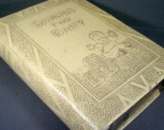 Vintage Mid Century Zell Products Book Baby Bank Newborn Christening Gift Nursery Decor
