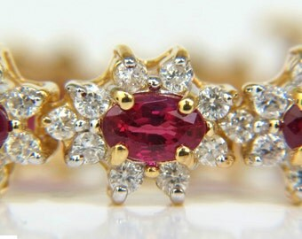 11.96CT Natural Ruby Diamond Bracelet Diana Deco Vivid Red