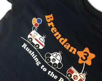 Custom Birthday t-shirt Police Car Fire Truck Ambulance balloons Personalized Name Age fun