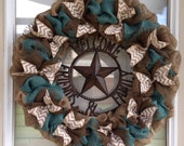 Burlap Wreath, Turquoise Burlap Wreath, Welcome Family and Friends Wreath
