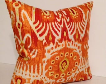 Ikat Orange Pumpkin Cerva Decorative Pillow Cover