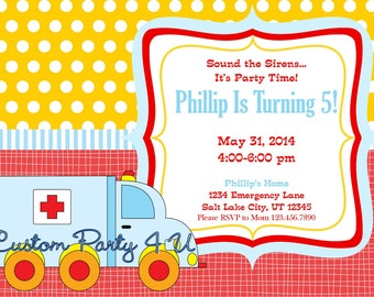 Ambulance Birthday Invitation