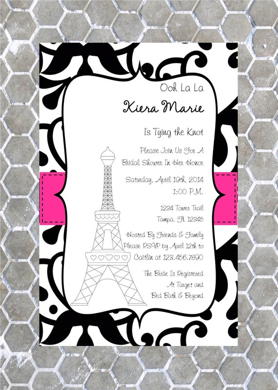 Paris themed bridal shower invitation by customparty4u for Paris themed invitations bridal shower