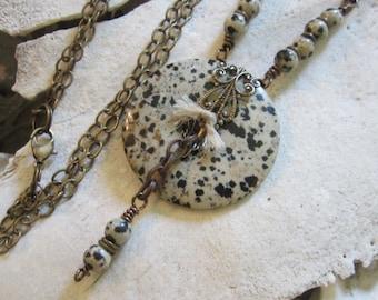 Copper Jewelry Bohemian Jewelry Boho Jewelry Jasper Donut Pendant Necklace