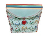 Bicycle Handlebar Bag with Mini Bicycles and Striped Flap  25b