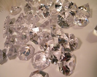 """Wedding Decoration Table Confetti Large Faux Diamonds - Plastic - 1.25""""  Clear Solitare - Party Supplies - Table Scatter - Bling - 30 pcs"""