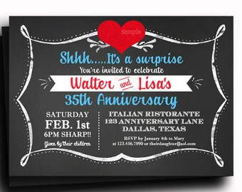 Chalkboard Love Invitation Printable or Printed with FREE SHIPPING - Anniversay, Wedding, Shower, Birthday or ANY Occasion