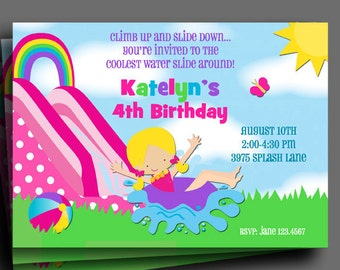 Girls Water Slide Invitation Printable  or Printed with FREE SHIPPING - You Pick Hair Color/Skin Tone - Rainbow Waterslide Collection