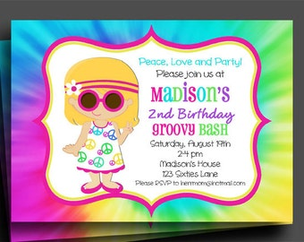 Peace Sign Groovy Invitation Printable - Sixties Tie Dye Fun