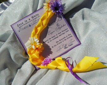 Tangled Wedding Invitation - Rapunzel Inspired Wedding Invitation - Children's Party