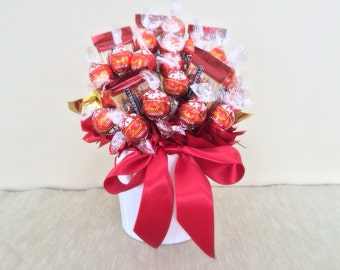 Medium Bouquet with Ribbon in White Vase - Chocolate Candy Bouquet
