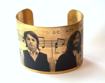 "Beatles ""All You Need Is Love"" Brass Cuff Bracelet"