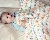 Cruiser Bike Baby Blanket Bicycle Print in Orange, Green and Gray Organic Cotton Eco-friendly Baby Swaddle Blanket