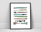 Create Art Print, Brush, Paint Brush, Artists Supplies Printable Art  INSTANT DOWNLOAD - You Print