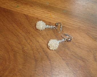 vintage clip on earrings white bead cluster dangles