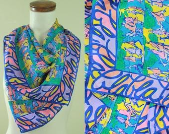 "Vintage - 60s - Mod - Abstract - Purple Blue Coral Yellow - Novelty - People - Cartoon Strip - ""blah blah blah"" - Large Silk Scarf - Wrap"