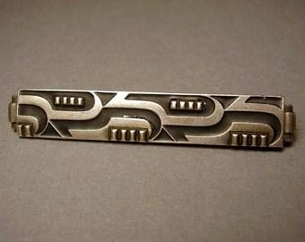 Vintage German Art Deco Silver Brooch Pin 935 Sterling Enamel Modernist Machine Age Bauhaus Pforzheim Silber Brosche