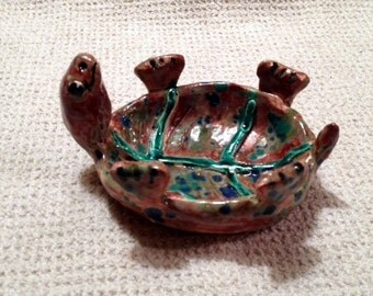 Sweet little turtle bowl, tea bag or  jewelry holder holder handmade in us from a lump of clay