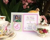 Printable Custom Girls Birthday Invitation - Tea Party Theme