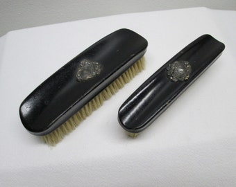Wooden and Silver Clothing Brushes, set of two
