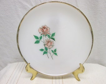 Fire King Pink Rose Anniversary Plate
