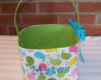 Fabric Easter Basket - Spring Birdies - Personalization Included - Great Storage Bin