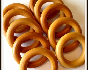Set of 10 Organic Wooden Rings - Finished Beeswax Teething Rings