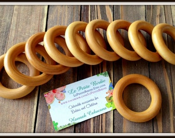 20 Organic Baby Maple Wooden Teething Rings Beeswax Olive Oil Coated Finished EcoFriendly Green Accessories