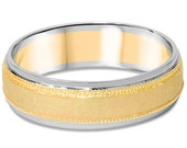 Hammered 14K White & Yellow Gold Two Tone 6MM Wedding Ring Band Size 7-12
