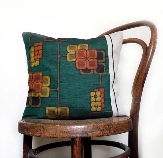 "Green Orange Decorative Midcentury Modern Pillow Cover. Rare Vintage Kimono Silk, Natural Linen. 18x18""/45cm. MCM Designer Pillow. LAST One"