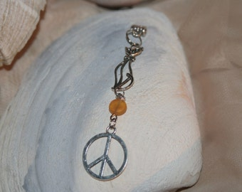 peace cat lover pendant with amber