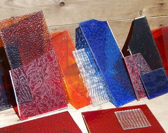 Stained Glass Lot, Fourteen Pieces, Stained Glass Panels, Vintage Colored Glass