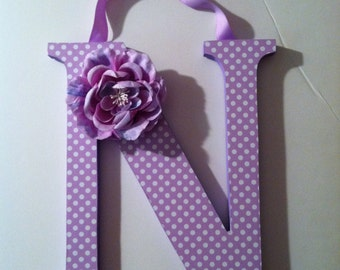 Wooden  letters for nursery in lilac polka dots