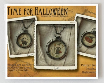 Time for Halloween cross stitch patterns by With Thy Needle & Thread at thecottageneedle.com witch jack-o-lantern black cat
