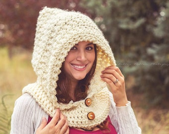 Crochet Pattern for Star Stitch Hooded Cowl - 5 sizes, baby to large adult - Welcome to sell finished items