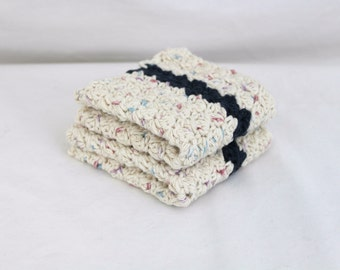 Hand Crocheted Wash Cloths: Ivory Cotton with blue stripe, Eco Friendly