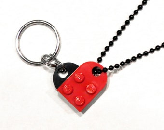 BFF Best Friends Heart Keychain and Necklace Set - Made of LEGO® Bricks - Friendship Friend Gift - Dog Tag Style Ball Chain - Black Finish