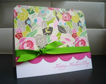 Handmade Mother's Day Card, Happy Mothers Day Card, Floral