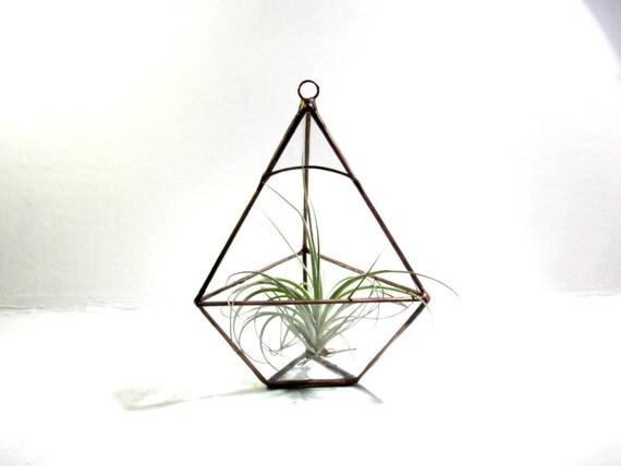 Hanging Glass Terrarium / Geometric Pyramid Terrarium / Hanging Planter